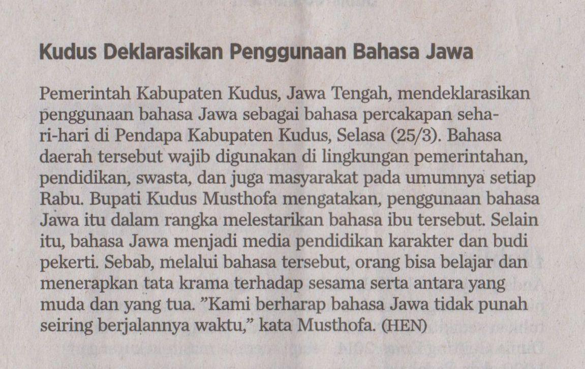 Kudus Deklarasikan Penggunaan Bahasa Jawa Darwin Darkwin